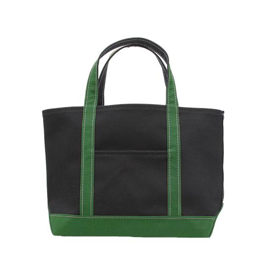 トートバック|帆布×帆布|L|ブラック×グリーン