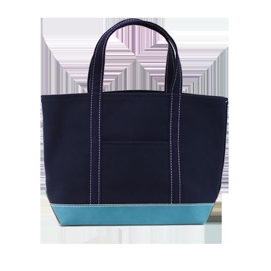トートバッグ L×ボトムレザー|ネイビー x V/ブルー