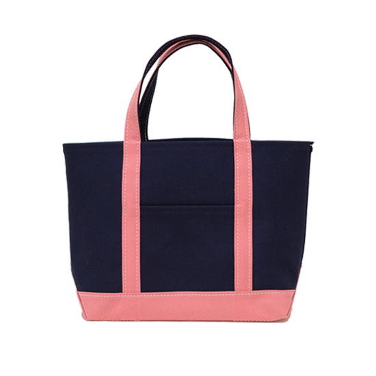 トートバッグ L×キャンバス|ネイビー x ピンク