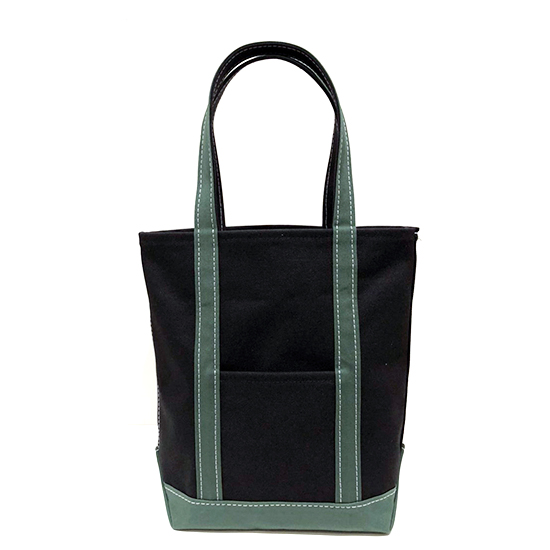 トートバッグ M タテ型×キャンバス|ブラック x グリーン