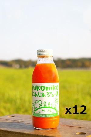 【農薬・肥料・化学物質を一切使用していない安心安全の自然栽培】 南風農園 nikonikoにんじんジュース 200ml x 12本  青森県産