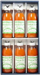 【農薬・肥料・化学物質を一切使用していない安心安全の自然栽培】 南風農園 nikonikoにんじんジュース 350ml x 6本  ギフトセット化粧箱入 青森県産