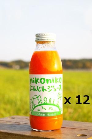 【農薬・肥料・化学物質を一切使用していない安心安全の自然栽培】 南風農園 nikonikoにんじんジュース 350ml x 12本  青森県産