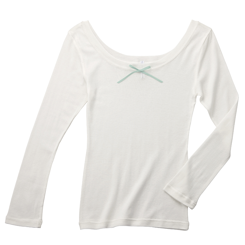 オープンネック・ロングスリーブTシャツ