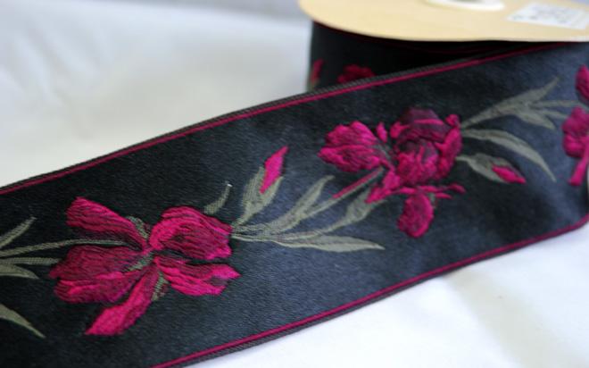 膨れ織、アイリス柄の高級フランスリボン(5カラー)