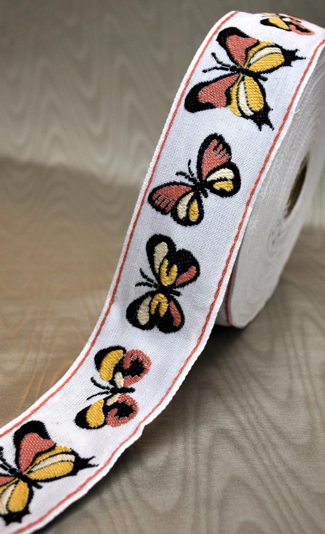 カラフルな蝶々柄のフランスリボンです【メール便可】