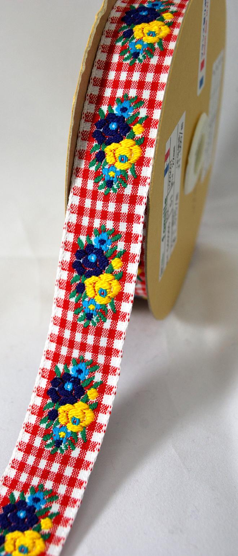 可愛いギンガムチェックとお花のフランスリボンです(5カラー)