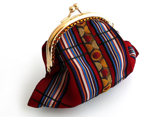 フランスリボンで出来たビーズ付きがま口財布