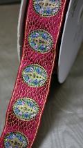 花模様が浮き上がったふくれ織りのヴィンテージリボンです4カラー