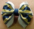 ドットが可愛いフランス製リボンで作ったヘアバレッタです・ファミーユオリジナル