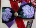 バラが素敵なフランス製リボンで作ったヘアバレッタです・ファミーユオリジナル