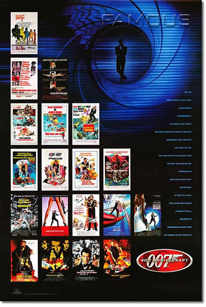 【映画ポスター】 007 シリーズ 40th Anniversary checklist-SS★40周年記念★ オリジナルポスター