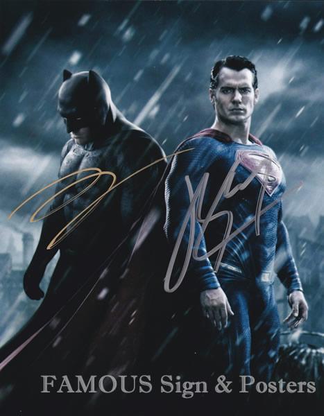 【直筆サイン入り写真】 バットマン vs スーパーマン ジャスティスの誕生 2キャスト (ヘンリーカビル/ベンアフレック) 映画グッズ/オートグラフ