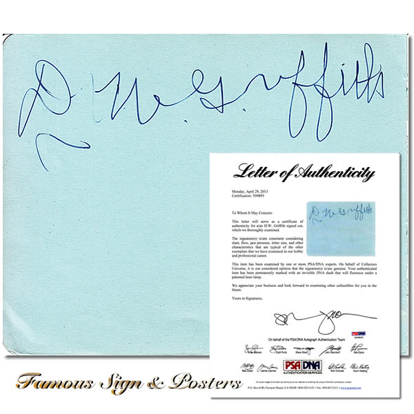 直筆サイン入紙片 DWグリフィス (D. W. Griffith/國民の創生 など監督) 映画グッズ/オートグラフ
