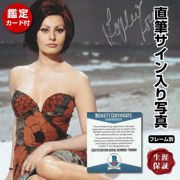 【直筆サイン入り写真】 ひまわり 映画グッズ ソフィアローレン ドレス写真 Sophia Loren オートグラフ フレーム別 鑑定済