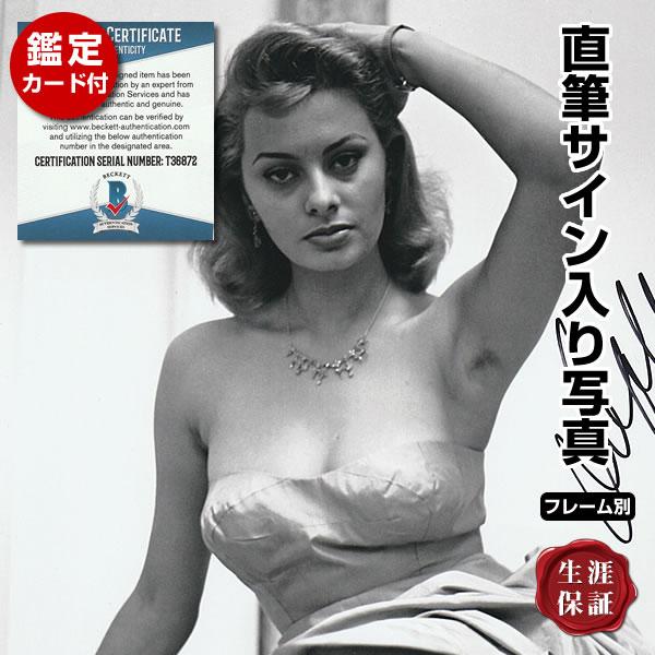 【直筆サイン入り写真】 月夜の出来事 映画グッズ ソフィアローレン ドレス写真 Sophia Loren オートグラフ フレーム別 鑑定済