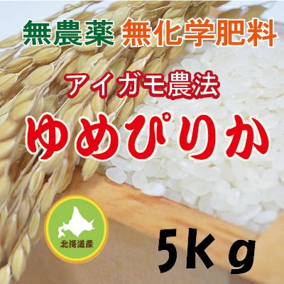 無農薬無化学肥料栽培 アイガモ農法 ゆめぴりか5kg 令和2年産米