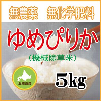 無農薬無化学肥料栽培  ゆめぴりか5kg 令和元年産米
