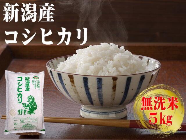 農家直送!新潟産コシヒカリ 無洗米 5kgの販売