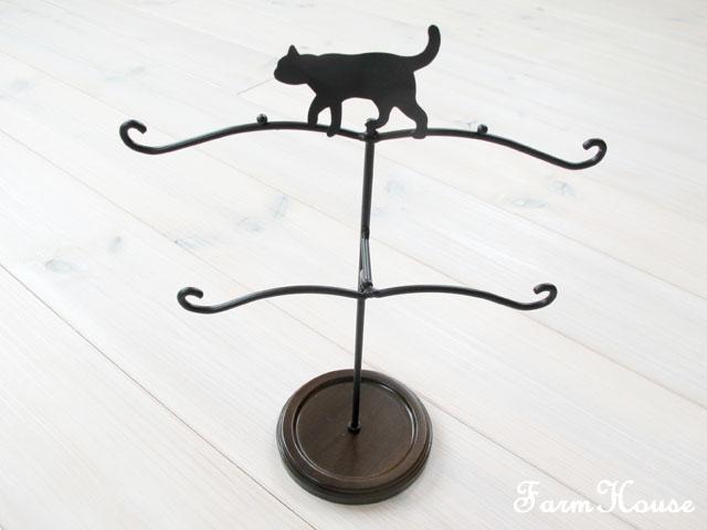 トレー付きアクセサリースタンド 黒猫