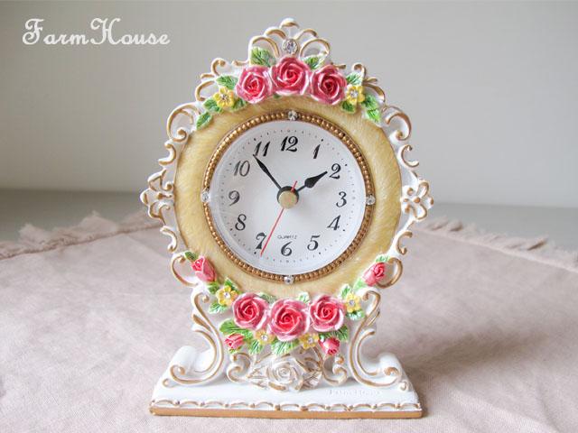 ロイヤルローズ置時計 アイボリー