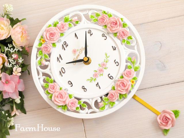 ローズレリーフ振子時計 ピンク
