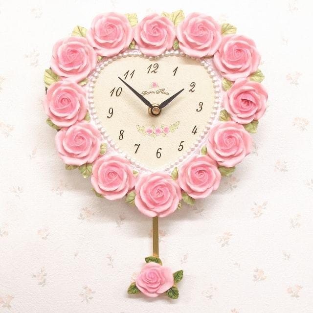 ローズ ハート型振子時計