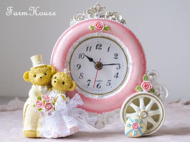 ベアウェディング置時計