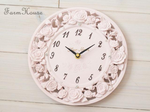ローズレリーフ掛時計 ピンク