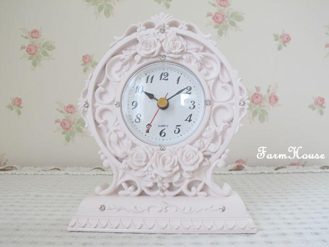 ローズレリーフ置時計 ピンク