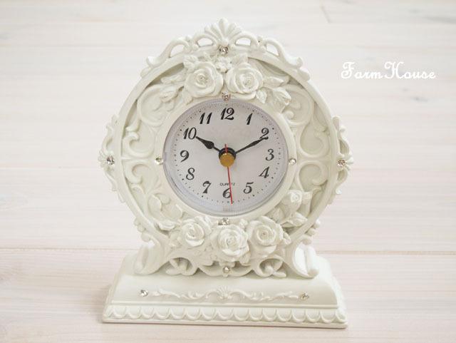 ローズレリーフ置時計 ホワイト