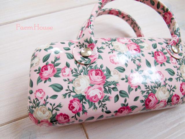 ピンクの薔薇柄♪持ち手付きメガネケース