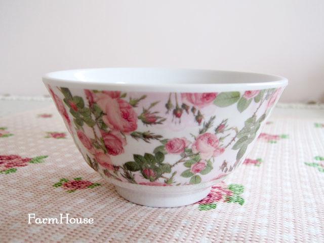 ピンクローズ メラミンお茶碗