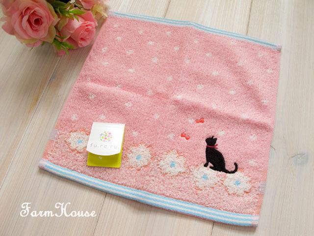 黒猫 タオルハンカチ ピンク