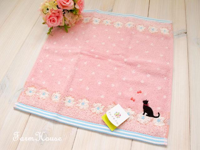 黒猫 ハンドタオル ピンク