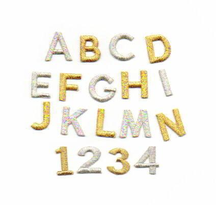 ゴシック体アルファベット数字の刺繍ワッペン