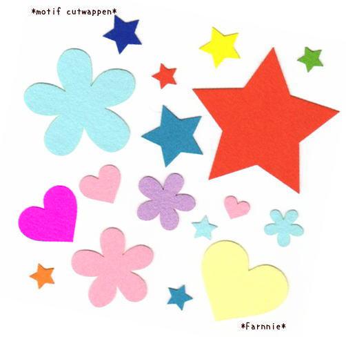 かわいい星とお花(フラワー)とハートのアイロンアップリケ*色一覧