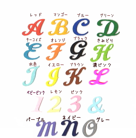 【カット筆記体】【中】【単品】イニシャル数字のアイロンワッペン