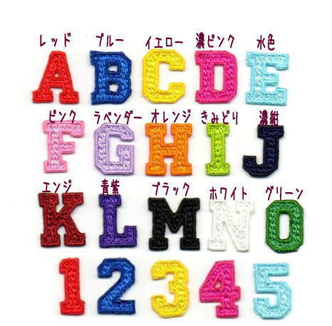 カレッジ体アルファベット数字のワッペン