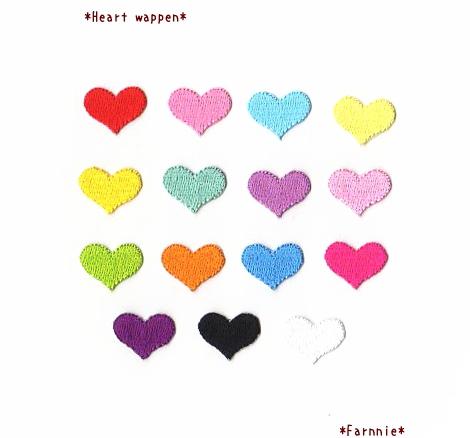 ハートの刺繍アイロンワッペン【ミニミニ/ミニ/レギュラー】