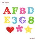 【カット】【4.5cm】ドット水玉のアルファベット数字の文字アイロンワッペン