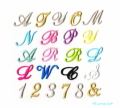 【小】筆記体のイニシャル数字刺繍アイロンワッペン