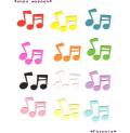 かわいい音符のフェルトアイロンワッペン*ファーニー