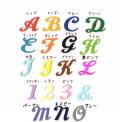 【カット筆記体】【大】【単品】イニシャル数字のアイロンワッペン