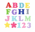 【カット】【6cm】ドット水玉のアルファベット数字のアイロンワッペン