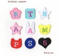【中】形が選べるアルファベット数字のフェルトワッペン【星/ハート/くま/ねこ/うさぎ/まる/四角/花】