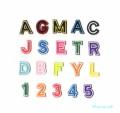 【3cm】【ツイル生地】アルファベット数字の刺繍ワッペン