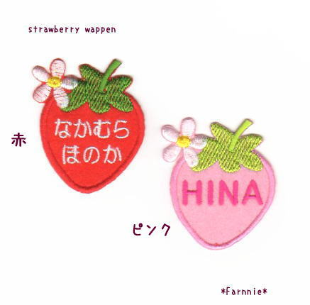 かわいい苺(いちご)のお名前アイロンワッペン*アップリケトップ