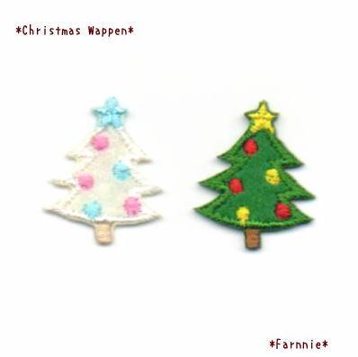 かわいいクリスマスツリーのアイロンワッペン*アップリケトップ