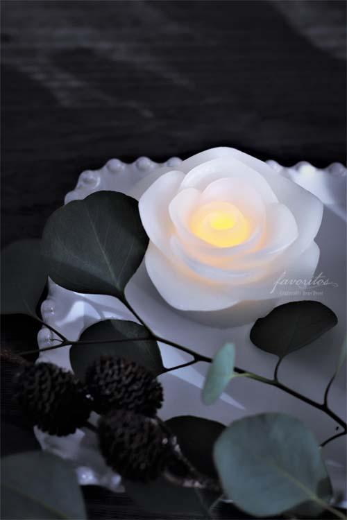 fiorira un giardino(フィオリラ ウン ジアルディーノ)| スモール ホワイトローズ LEDキャンドル